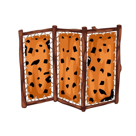 partition: fabric partition with wooden prehistoric  isolated of illustration