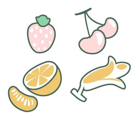 Fruit set illustration of isolated on white background  Vector