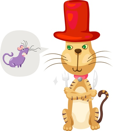 cat with rat vector Illustration  Vector