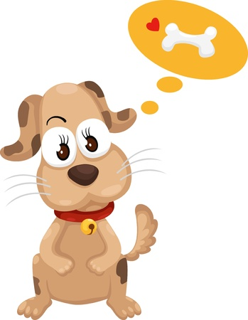 dog with bone vector Illustration Vector