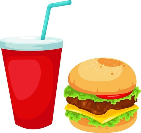 unhealthy: Hamburger conjunto ilustraci�n vectorial