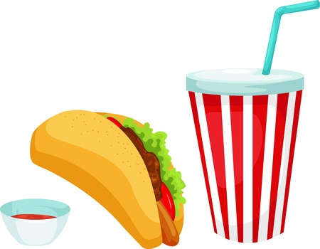 nachos: taco set vector illustration