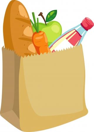bolsa supermercado: bolsa de papel con pan y manzana y zanahoria, ilustraci�n vectorial