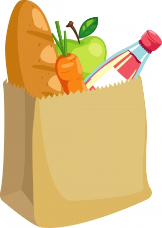 paper bag with bread and apple and carrot vector illustration  Vector
