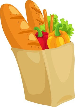 paper bag with bread and paprika vector illustration  Vector