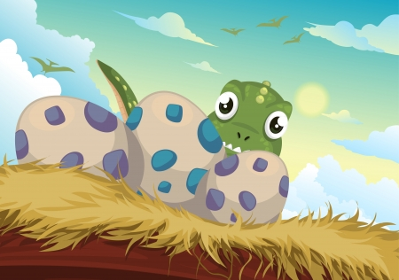 Beautiful Cartoon dinosaur and egg vector  Vector