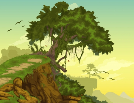 painterly effect: Beautiful mountainous background with tree