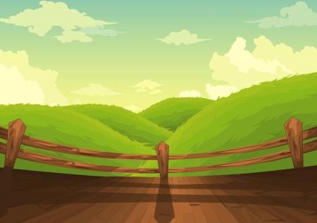 cartoon forest: Beautiful Landscape Background  Illustration