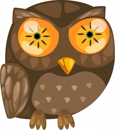 illustration isolated ALPHABET LETTER O-Owl  vector Vector