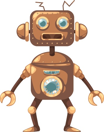 alphabet kids: illustration isolated ALPHABET LETTER R-Robot  vector