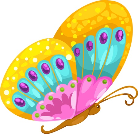 mariposa caricatura: ilustraci�n, letra, alfabeto B-Butterfly vector