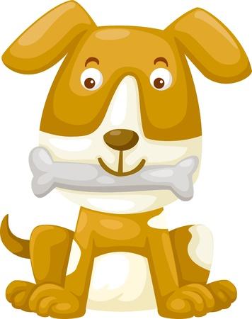 puppy love: perro con hueso ilustración
