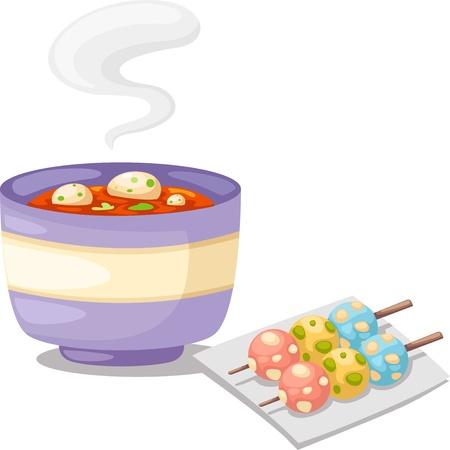 soup spoon: Pittige soep Thaise s Tomyum Stock Illustratie
