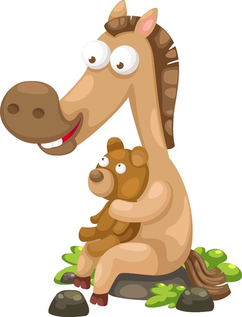 horse with bear Illustration  Stock Vector - 15286798