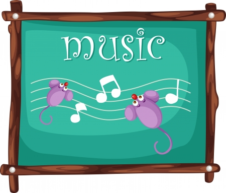 key board: Music notes on blackboard illustration