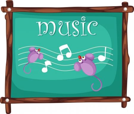 pentagrama musical: Notas de la música en la ilustración pizarra