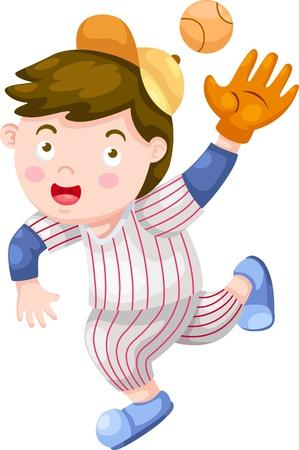baseball hat: Baseball Player illustration on a white background