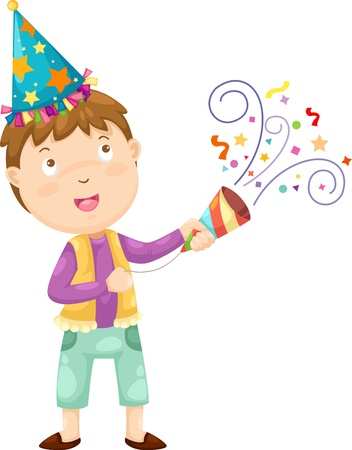 party horn blower: Happy boy celebrating vector Illustraiton