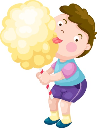 spun sugar: boy with candy floss vector illustration on a white background  Illustration