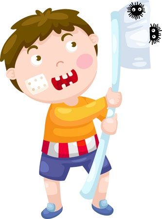 dientes caricatura: muchacho con la ilustraci�n del vector cepillo de dientes en un fondo blanco
