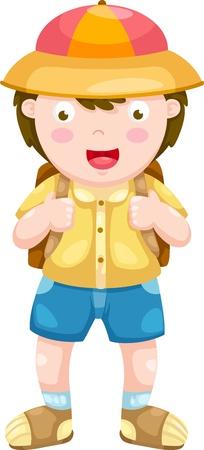 camp de vacances: Illustration vectorielle enfant sur un fond blanc
