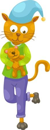 cat and teddy bear vector Stock Vector - 15454325