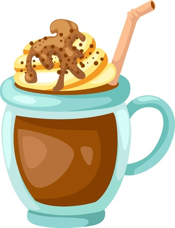 torte: Cocoa with whipped cream cup vector