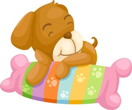 husky puppy: dog with pillow vector Illustraiton