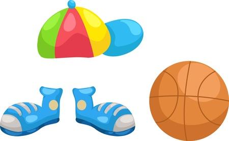 illustraiton: cap - shoes -basketball vector Illustraiton  Illustration