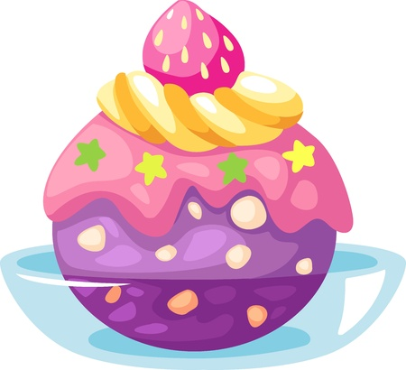 raspberries: Ice cream vector illustration