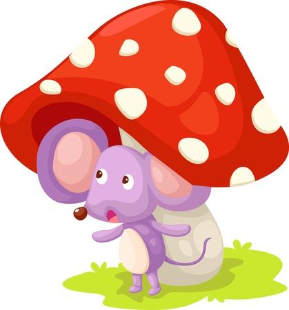 ratto con illustrazione vettoriale di funghi
