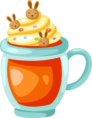 whip cream: orange juice with whip cream vector illustration