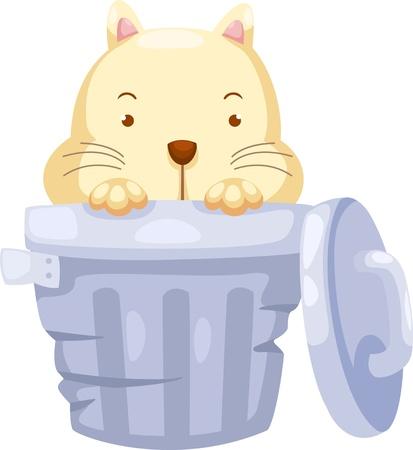 cat open: Cat in Trashcan Vector