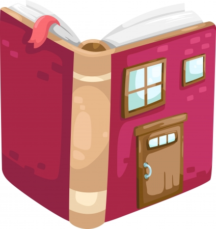 house illustration: book house  Illustration  Illustration