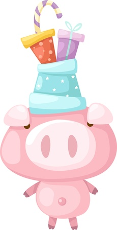 pink pig  illustration Vector