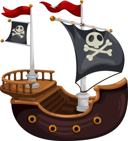 Pirate ship  illustration  Vector