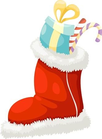white stockings: christmas sock vector illustration