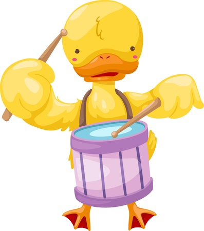 circus duck play drum  vector illustration