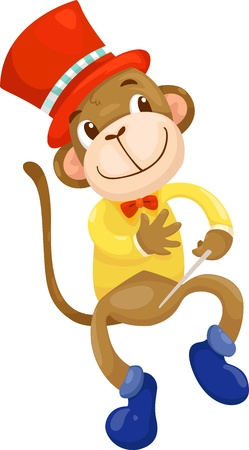 cartoon circus: circus monkey  vector illustration