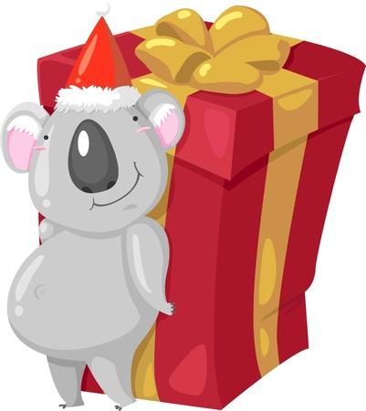 osos navide�os: Koala Bear ilustraci�n vectorial sobre un fondo blanco