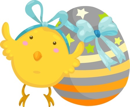 little chick with easter egg vector illustration on a white background Stock Vector - 15657241