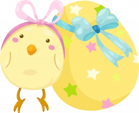 chicken wing: little chick with easter egg vector illustration on a white background  Illustration