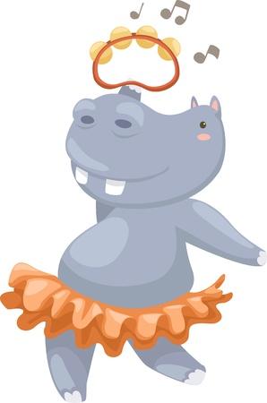 hipopotamo caricatura: hippo ilustración del vector en un fondo blanco Vectores