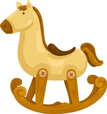 schommelpaard: hobbelpaard vector illustratie op een witte achtergrond Stock Illustratie