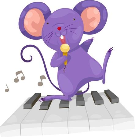 tocando piano: rata cantar Ilustración del vector en un fondo blanco Vectores