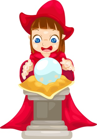 foretell: fortune teller with crystal ball vector Illustration on a white background  Illustration