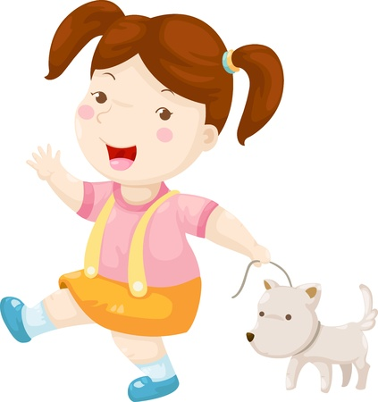 outdoor glamour: woman walking dog vector illustration on a white background