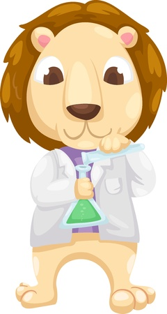 Scientist lion vector illustration on a white background  Vector