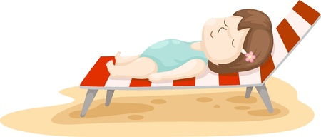 girl on beach bed illustration on a white background