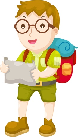 Kid Hiking illustration on a white background